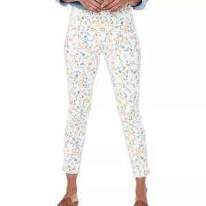 NYDJ High Rise Floral Ankle Slit Crop Skinny Jeans